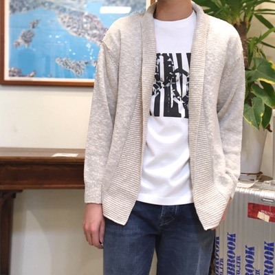【 linen cotton shawl collar cardigan】CT701*106画像1