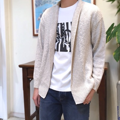 【 linen cotton shawl collar cardigan】CT701*106画像2